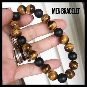 Men or women tiger eye & matte onyx bracelet